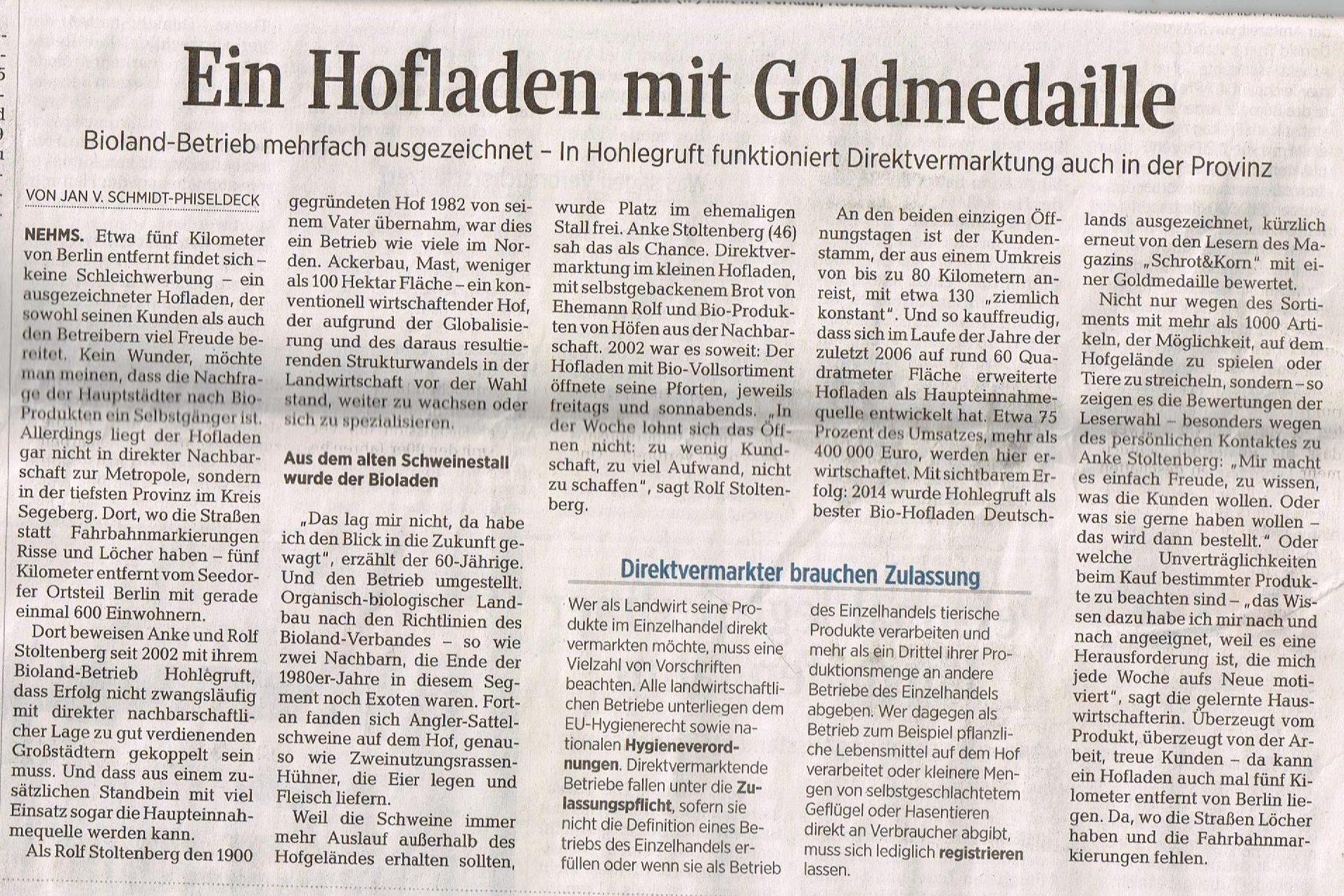 Ein Hofladen mit Goldmedaille- Hof Hohlegruft